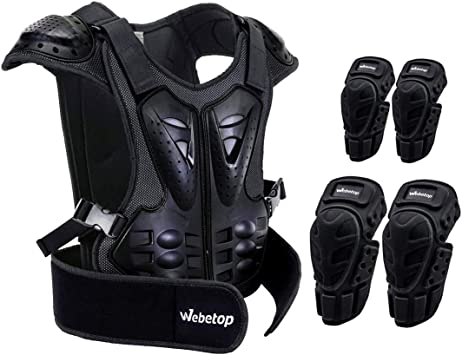 Webetop Adults Dirt Bike Elbow Guards with Body Chest Spine Protector Armor Vest L for Skiing Motorcross