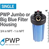 """PWP Blue Filter Housing 1"""" NPT BrassPort Whole House RO/DI 10x4.5in"""