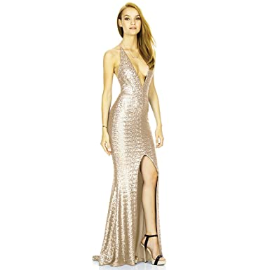 afe5a676e76 Women Sleeveless Deep V-Neck Sequin Split Bodycon Cocktail Party Maxi Dress  Mermaid Prom Gown Solid Tight Long Skirt - Beige -  Amazon.co.uk  Clothing