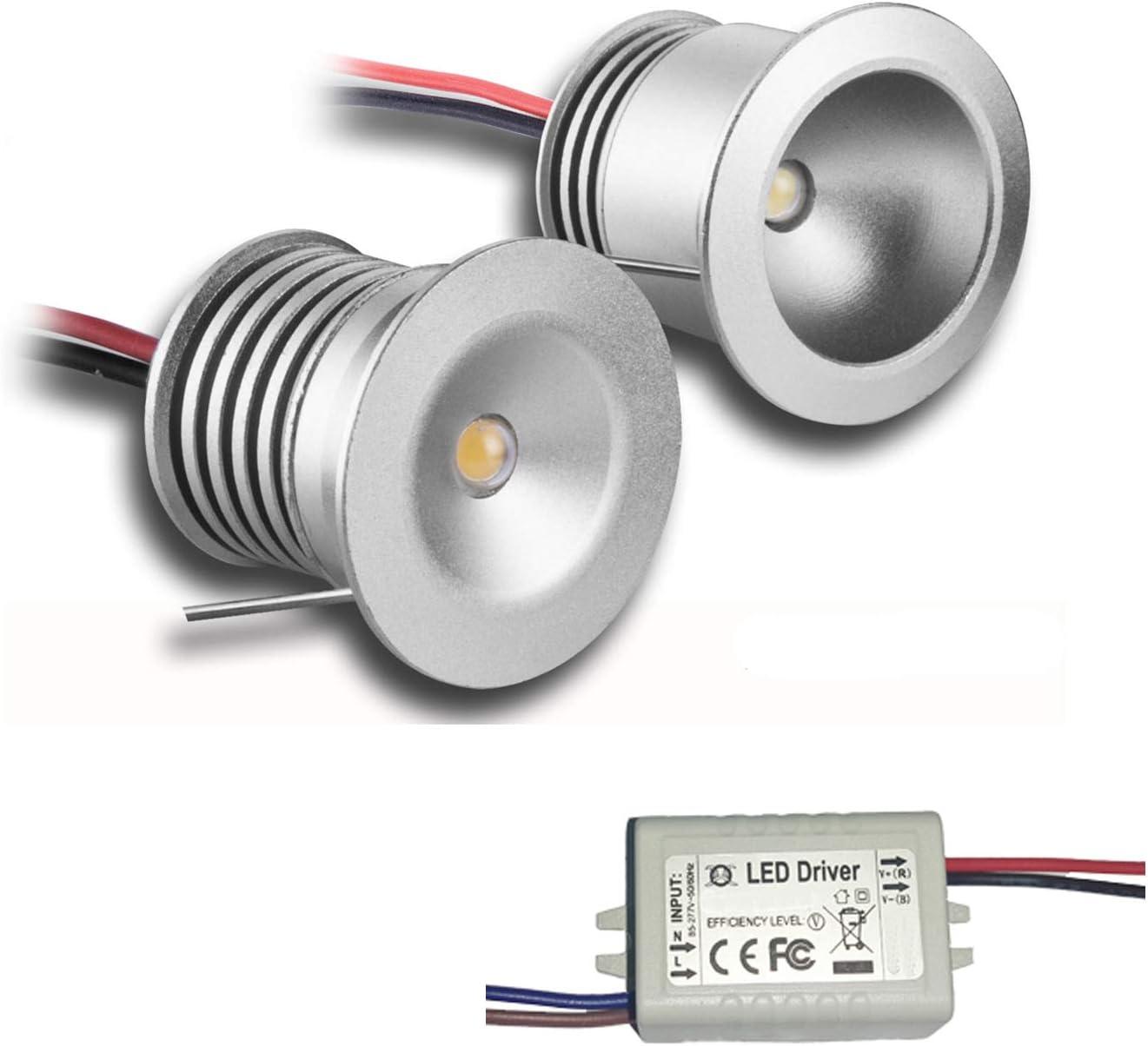 Warm White KPSUN alluminio mini faretti decorativi 30/° da 3 V e 1 W di protezione IP65; con certificazione CE e RoHS confezione da 6 mini faretti a LED