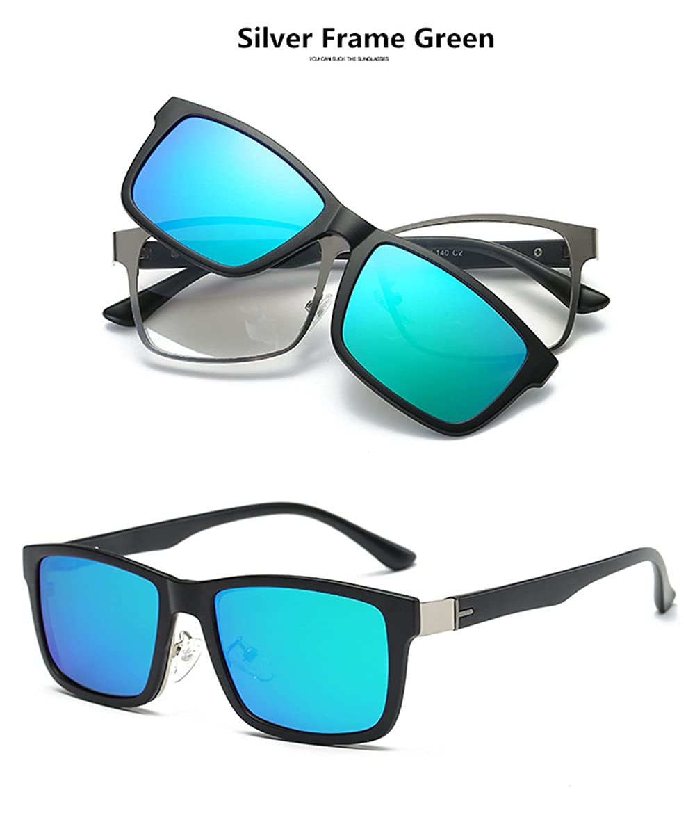 a87d67fe4fc Amazon.com  Magnetic Clip on Polarized Sunglasses Glasses Frame  Prescription Eyeglasses TR90  Clothing