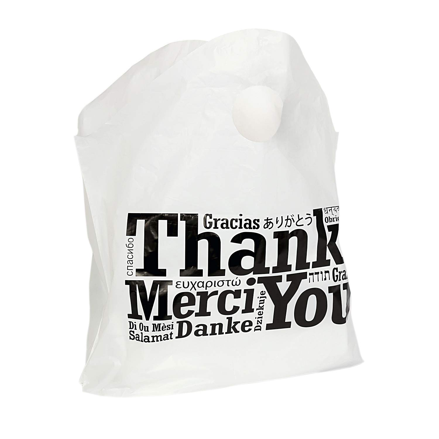 Royal Recyclable Plastic Shopping Bags with Wave Top Handles, 19'' x 18'' x 9.5'', Multilingual''Thank You'' Design, Case of 500