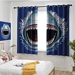 hengshu Shark 99% Blackout Curtains Attack of Open Mouth Sharp Teeth Sea Danger Wildlife Ocean Life Cartoon for Bedroom Kindergarten Living Room W63 x L63 Inch Navy Blue Grey Fuchsia