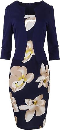 Babyonline Damen Colorblock Wear f/ür Arbeit Business Party Bodycon Einteiler Kleid