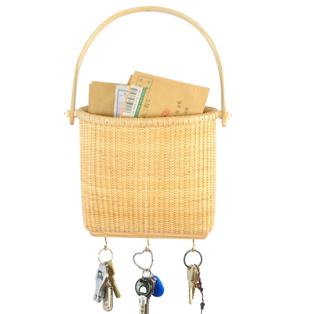 Amazon.com: Teng Tian Basket Wall Hanging Basket Key Holder: Home ...