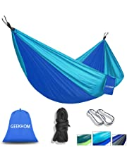 """GEEKHOM Hammock for 2 Person,Outdoor Camping Hammocks 106""""(L) x 55""""(W) 660lbs Load Capacity with Tree Straps and Aluminum Carabiners for Garden Travel Backpacking Hiking Beach"""