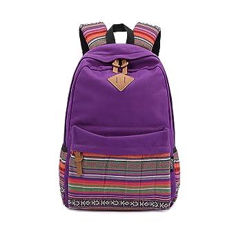Mochila para mujer, Bolso escolar,Mochila de viaje,Mochilas Tipo Casual,Lona y PU cuero-Púrpura: Amazon.es: Equipaje