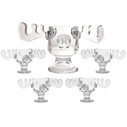 christmas vacation glass moose mug punch bowl set w set of 4 moose mugs - Christmas Vacation Moose Mug Set