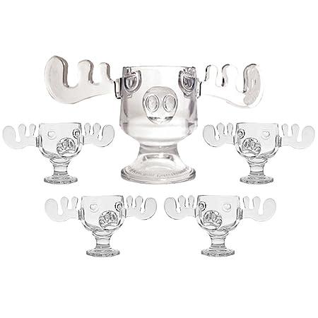 christmas vacation glass moose mug punch bowl set w set of 4 moose mugs by