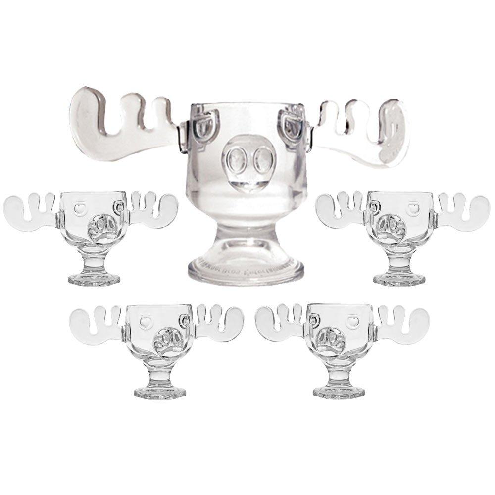 Christmas Vacation Glass Moose Mug Punch Bowl Set w/ Set of 4 Moose Mugs