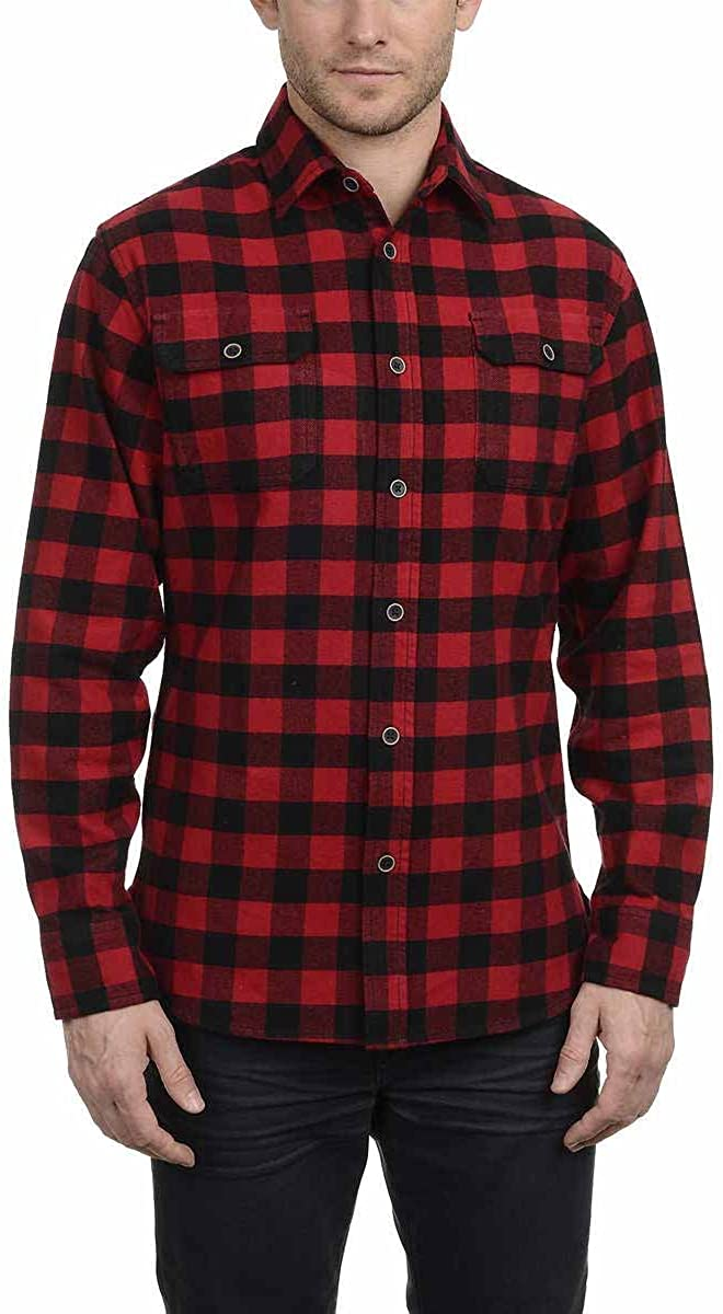 Comaba Mens Contrast Color Business Plus Size Plaid Button Down Shirt