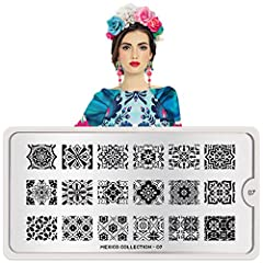 "MoYou-London Nail Art Image Stamping Plate. Made of durable stainless steel. Measurements: 12.5 x 6 cm (4.921"" x 2.362""). Has a vinyl backing for increased ease of use. Each plate comes in MoYou branded protective sleeve. The designs are engr..."