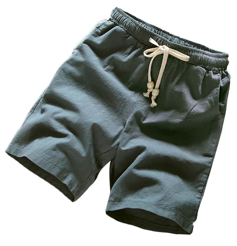 Slark Mens Comfort Elastic Waist Linen Walk Short