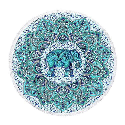 Zeronal Beach Throw Elephant Picnic Blanket Yoga Mat Indian Beach Towel Round Roundie Tapestry Mandala Wall Hanging Hippie Bohemian Dorm Decor (Beach Elephant)