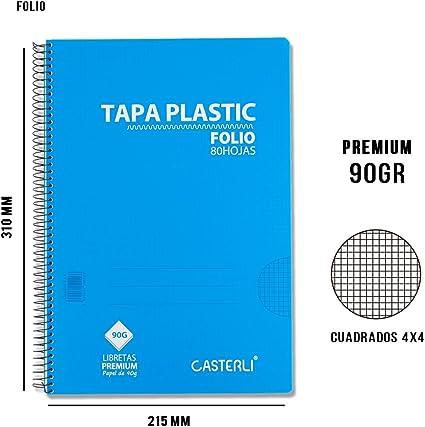 Casterli - Pack de 8 cuadernos espiral, tapa plástico, tamaño folio, cuadros 4x4, 90gr - AZUL: Amazon.es: Oficina y papelería