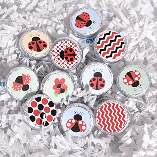 Round Ladybug - Set of 324 Ladybug Birthday Party Favor, Ladybug Party Supplies, Ladybug Round Candy Labels
