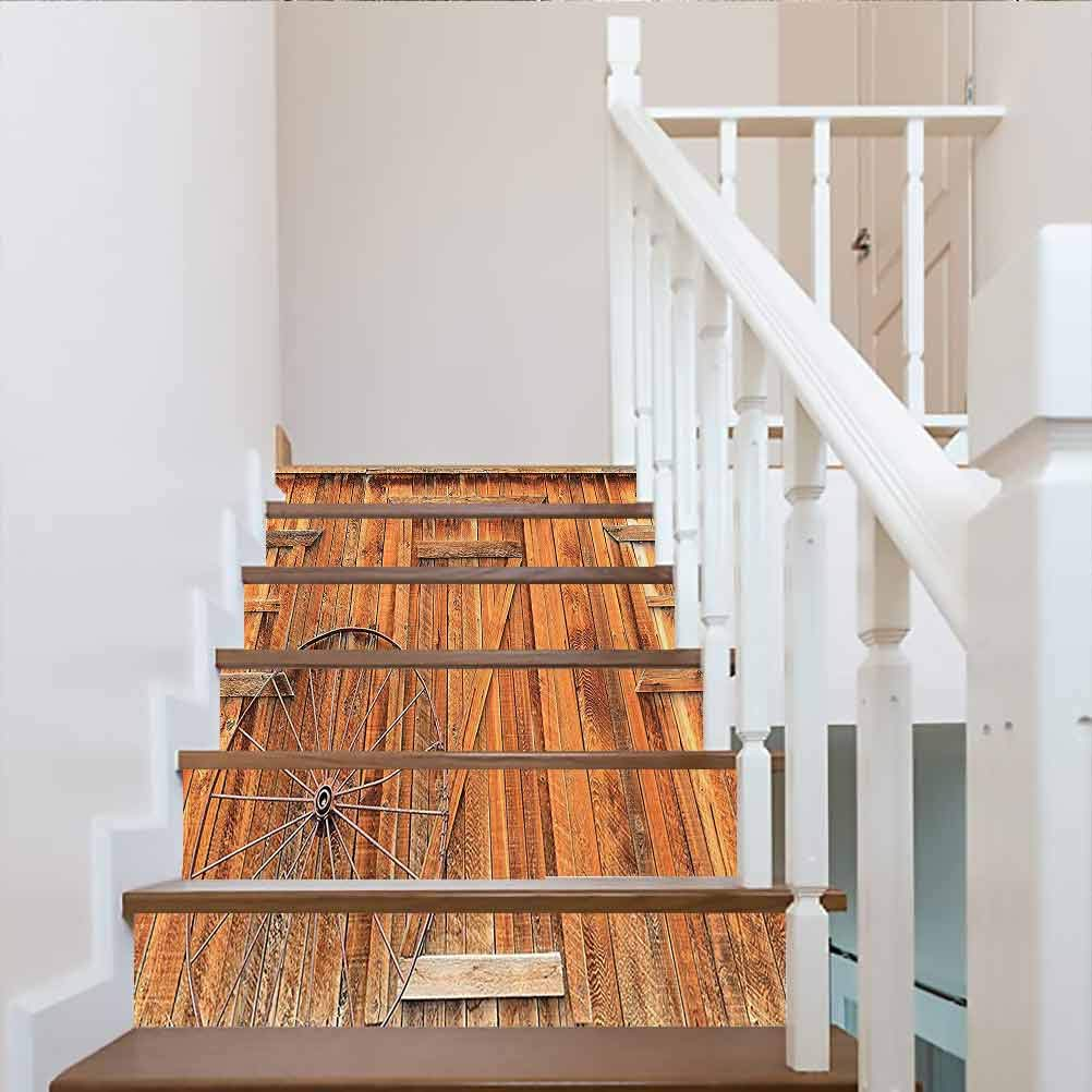 Self-Adhesive Waterproof Staircase Riser Wallpaper, Western Decor Collection Ancient Wagon Wheel Rustic Wooden, for Wedding Home Restaurant Decals, W43.3 x H7.08 Inch x6PCS