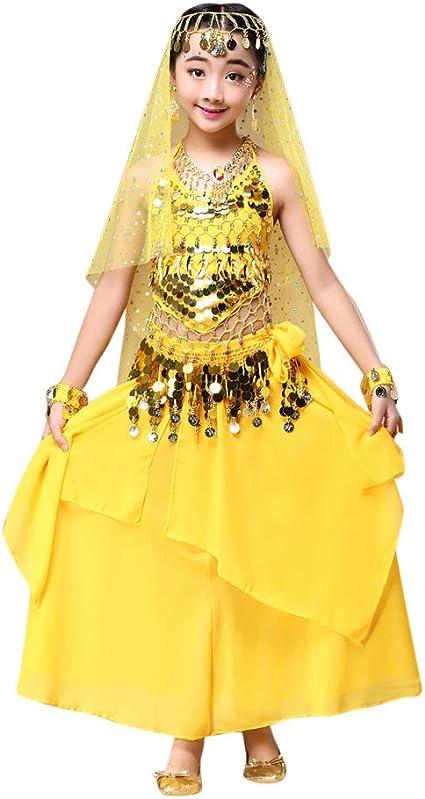 Feixiang Disfraz de Danza del Vientre para niños Vestido Tops + ...