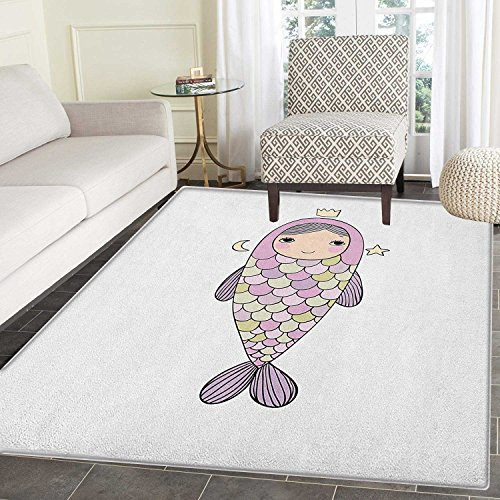 Mermaid Area Silky Smooth Rugs Fantasy Sea Life Mythological Character Girl in Fish Costume with Crown Moon Stars Floor Mat Pattern 2'x3' -