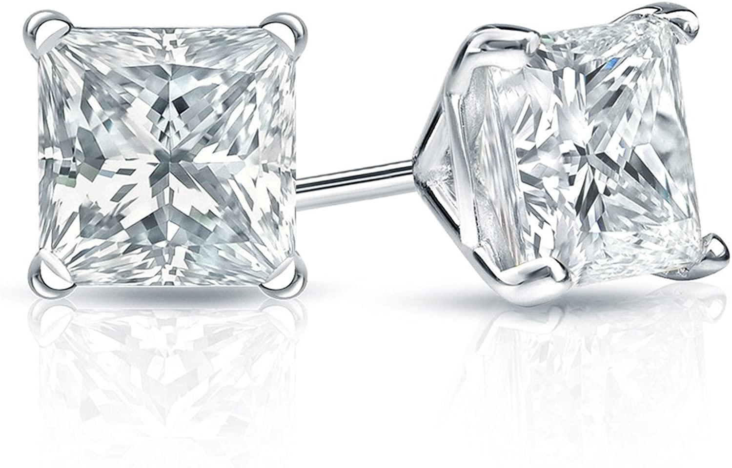 1//4-2cttw,Excellent Quality 14k White Gold Princess Diamond Simulant Stud Earrings 4-Prong Martini