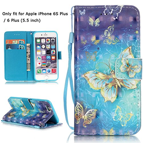 iPhone 6S Plus Case, iPhone 6 Plus Case, Love Sound [Gold Butterfly] [Wrist Strap] Luxury PU Leather Wallet Case Flip Cover Built-in Card Slots Stand for Apple iPhone 6S Plus / iPhone 6 Plus