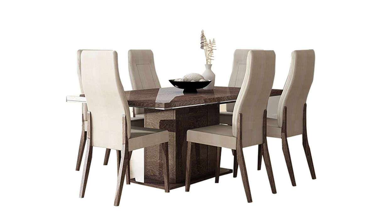 Amazon com prestige dining set walnut table and 6 chairs home kitchen