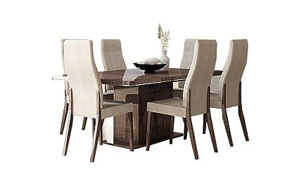 Prestige juego de comedor | nogal (mesa y 6 sillas): Amazon ...