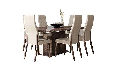 ESF Furniture Prestige Juego de Comedor | Nogal (Mesa y 6 sillas ...