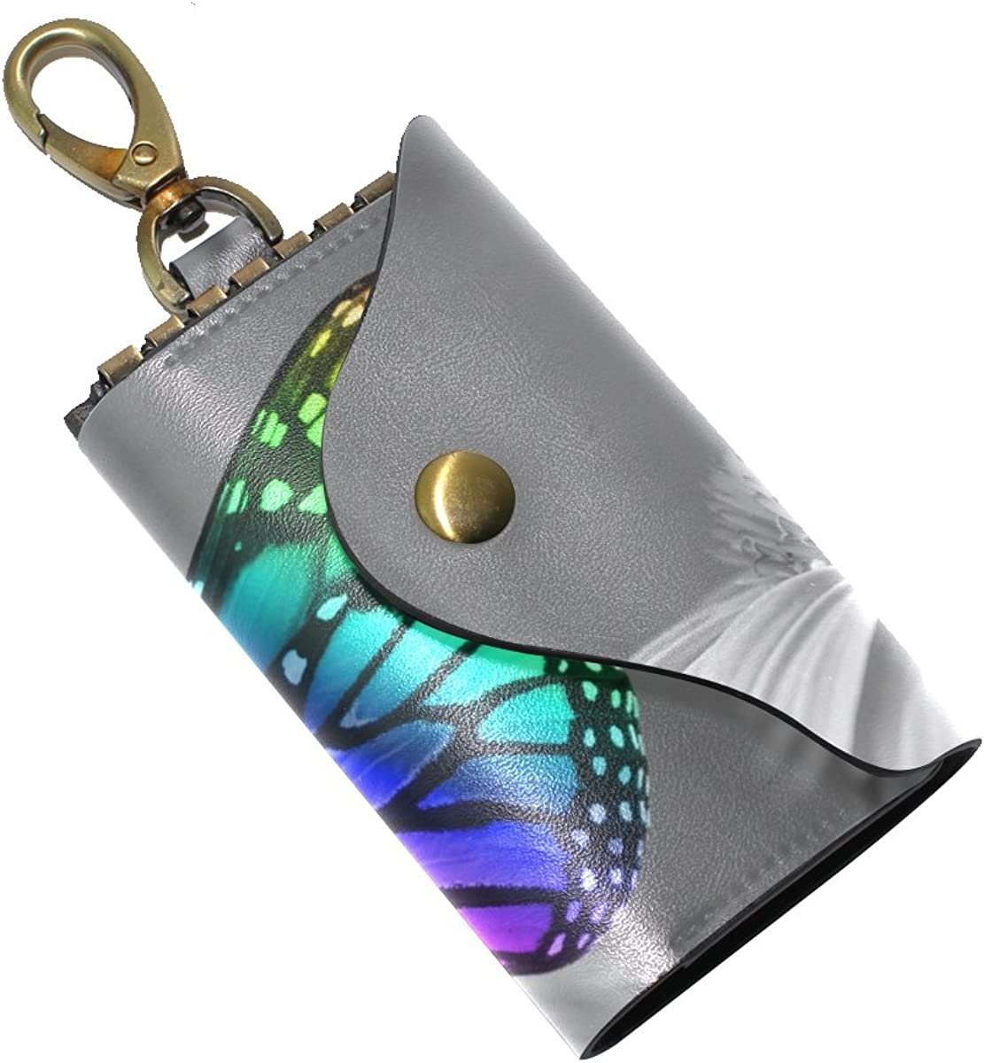 DEYYA Color Butterfly On The Fower Leather Key Case Wallets Unisex Keychain Key Holder with 6 Hooks Snap Closure
