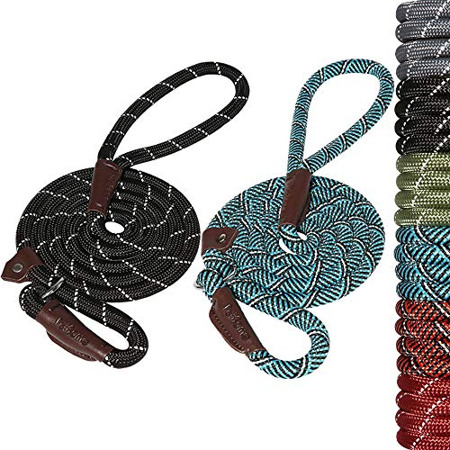PetBemo Extremely Durable Dog Slip Rope Leash, Premium Quality Mountain Climbing Rope Lead, Strong, Reflective Threads Sturdy Comfortable Leash Strongest Pulling Large Medium Dogs 6 feet