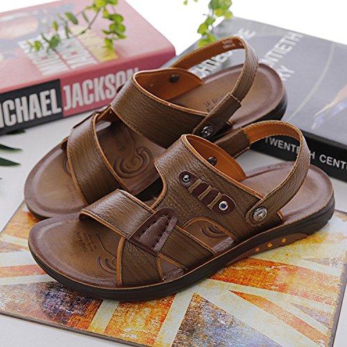 Estate i pattini degli uomini del massaggio di gioventù del cuoio genuino di pattini dei sandali di modo dei nuovi sandali di modo dei pattini, cachi, UK = 6.5, EU = 40