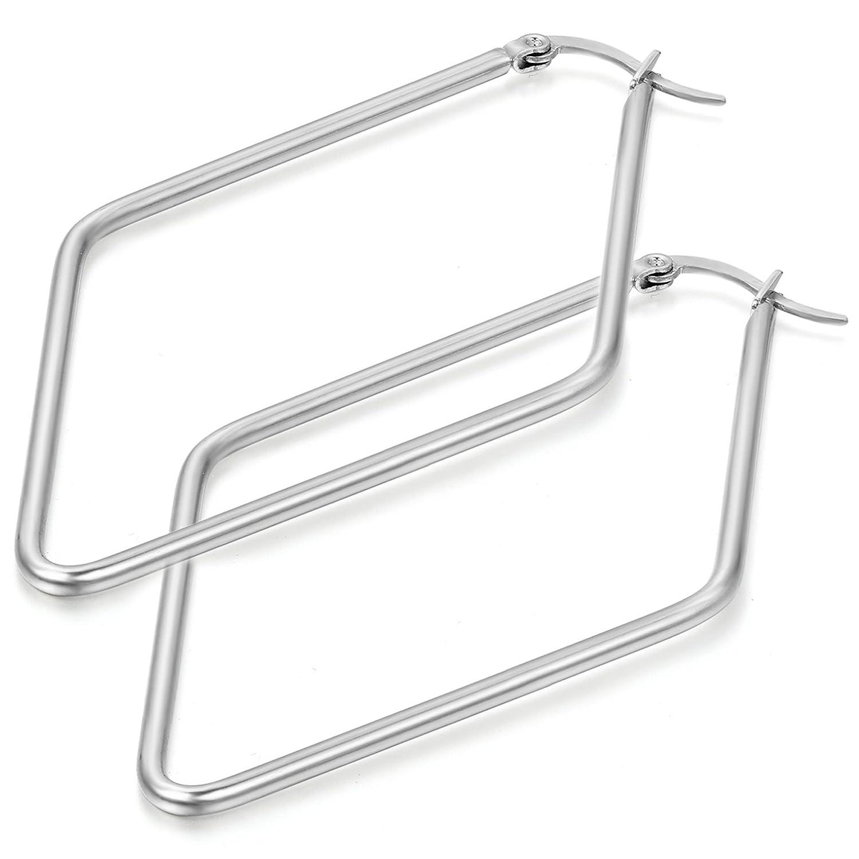 Flongo Pair of Stainless Steel Big Large Round Triangle Diamond Shape Plain Anti-allergy Hoop Loop Earrings FLGO22511-3
