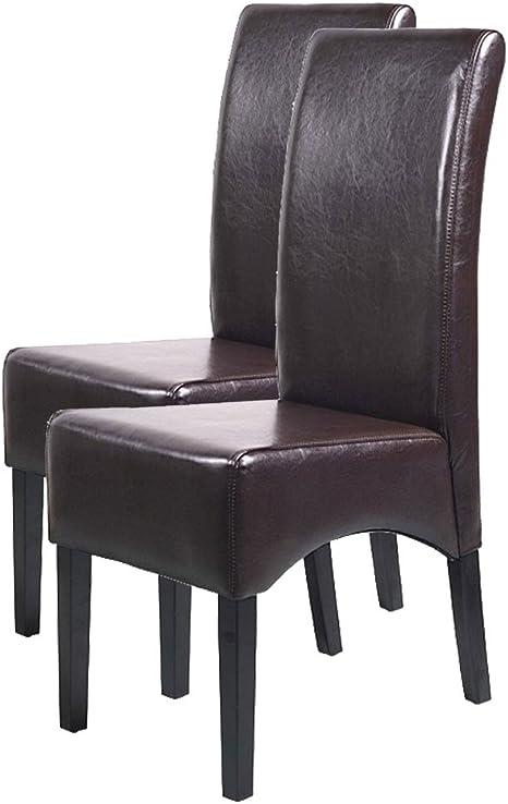 Mendler 2X Esszimmerstuhl Küchenstuhl Stuhl Latina, Leder ~ braun, dunkle Beine