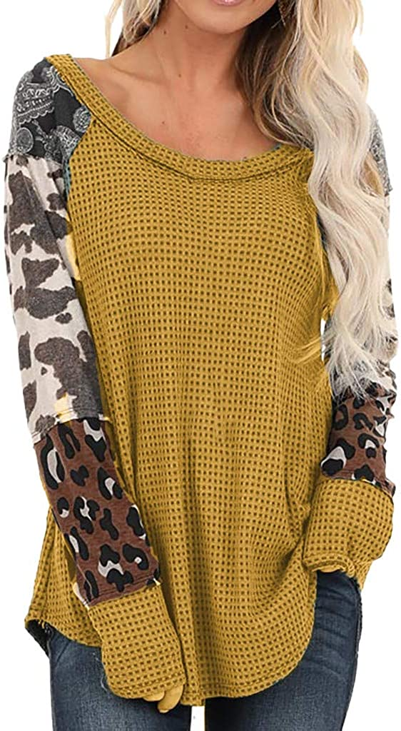 Yoyorule Tops Women Leopard Patchwork Print Long Sleeve Pullover Tops Shirts Blouse Loose Oversized Tops Sweater Pullover