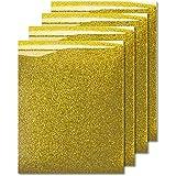 MiPremium Glitter Gold Heat Transfer Vinyl, Glitter Iron On Vinyl (Pack of 4 Sheets), for T Shirts Sports Clothing Other Garments & Fabrics, Weed & Press Gold Glitter Vinyl (Gold)