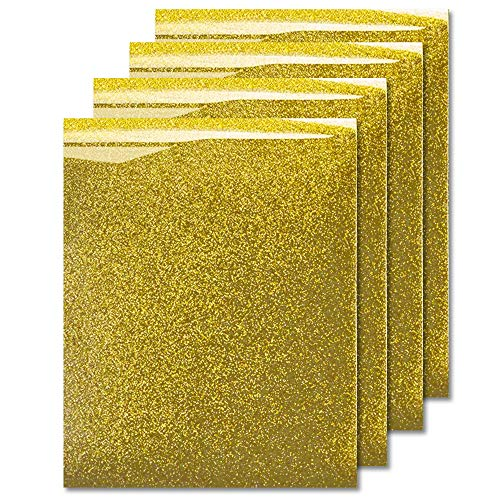 MiPremium Glitter Gold Heat Transfer Vinyl HTV, Glitter Iron On Vinyl (Pack of 4 Sheets), for T Shirts Sports Clothing Other Garments & Fabrics, Easy to Cut Press & Weed Gold Glitter Vinyl (Gold)