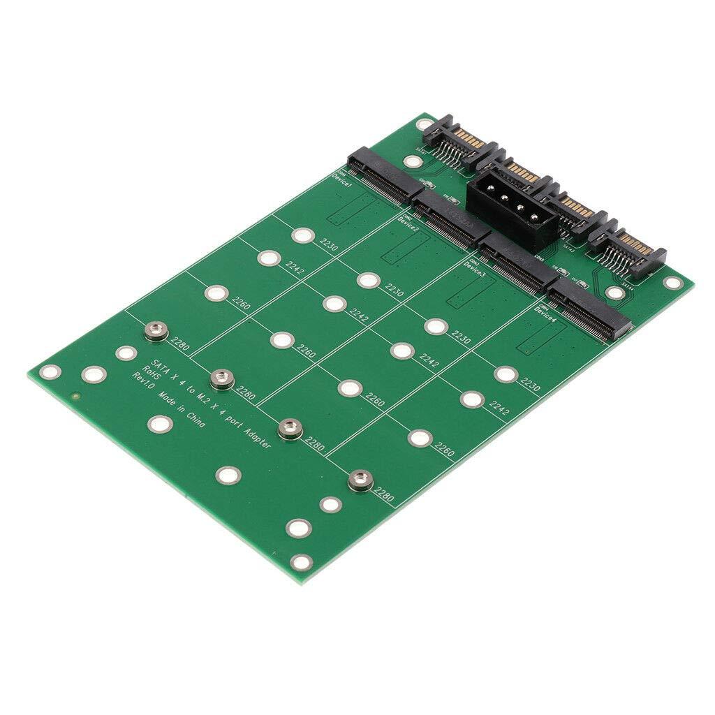 SODIAL Sata to Ngff Ssd Adapter Card Sata X4 to M.2(Ngff) X4 Adapter Converter