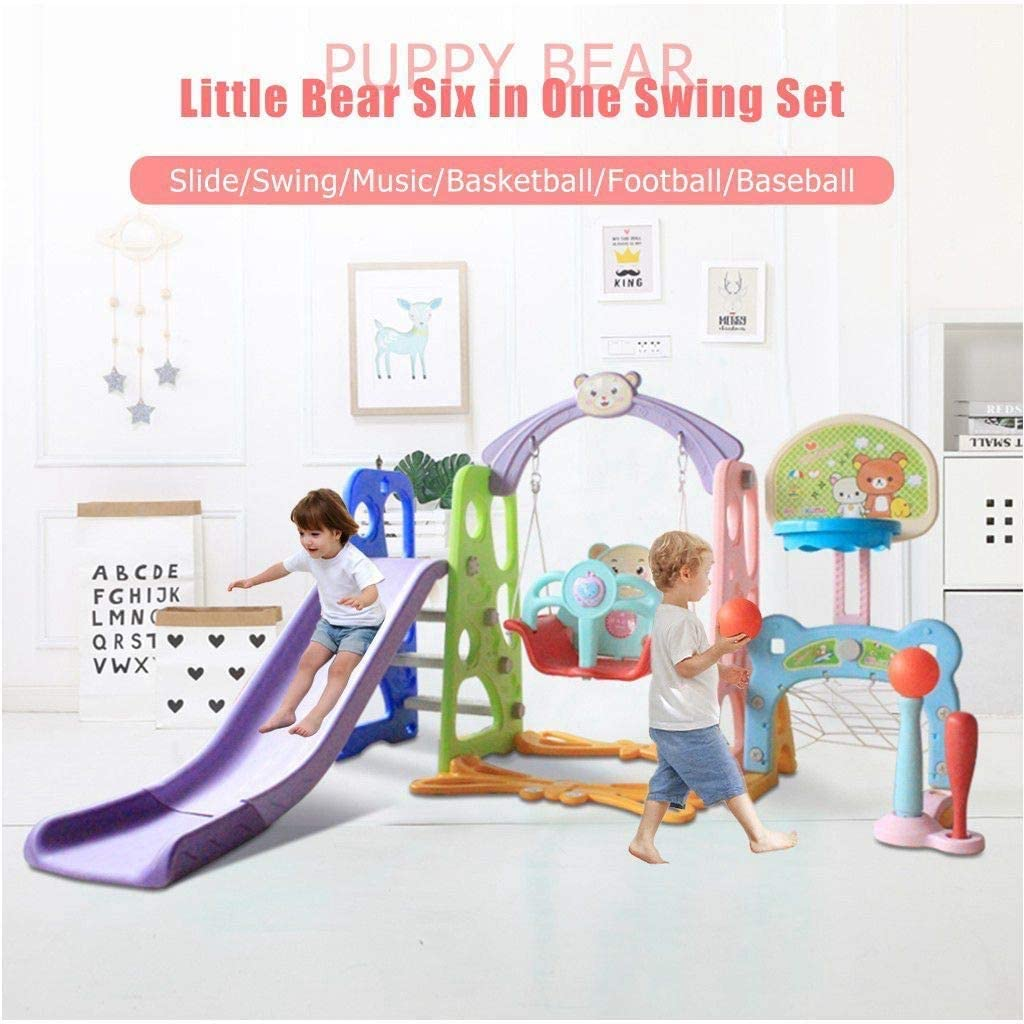 Easy Climb Stairs for Infant Playground Games 6 in 1 Kids Indoor /& Outdoor Slide Swing Playset W//Basketball Hoop Toddler Climber and Swing Set from US, Multicolour Football Gate Baseball Bat