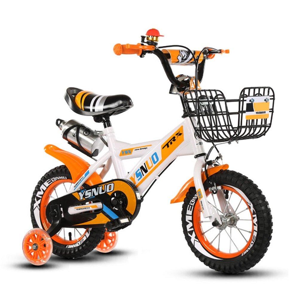 子供の自転車12|14|16|18インチアウトドアの子供ベイビーキッドマウンテンバイクフラッシュトレーニングホイールで2歳から10歳の男の子の女の子の贈り物|ウォーターボトル|鉄バスケット安全負荷50KG B0789HKMFY 14 inches|オレンジ オレンジ 14 inches