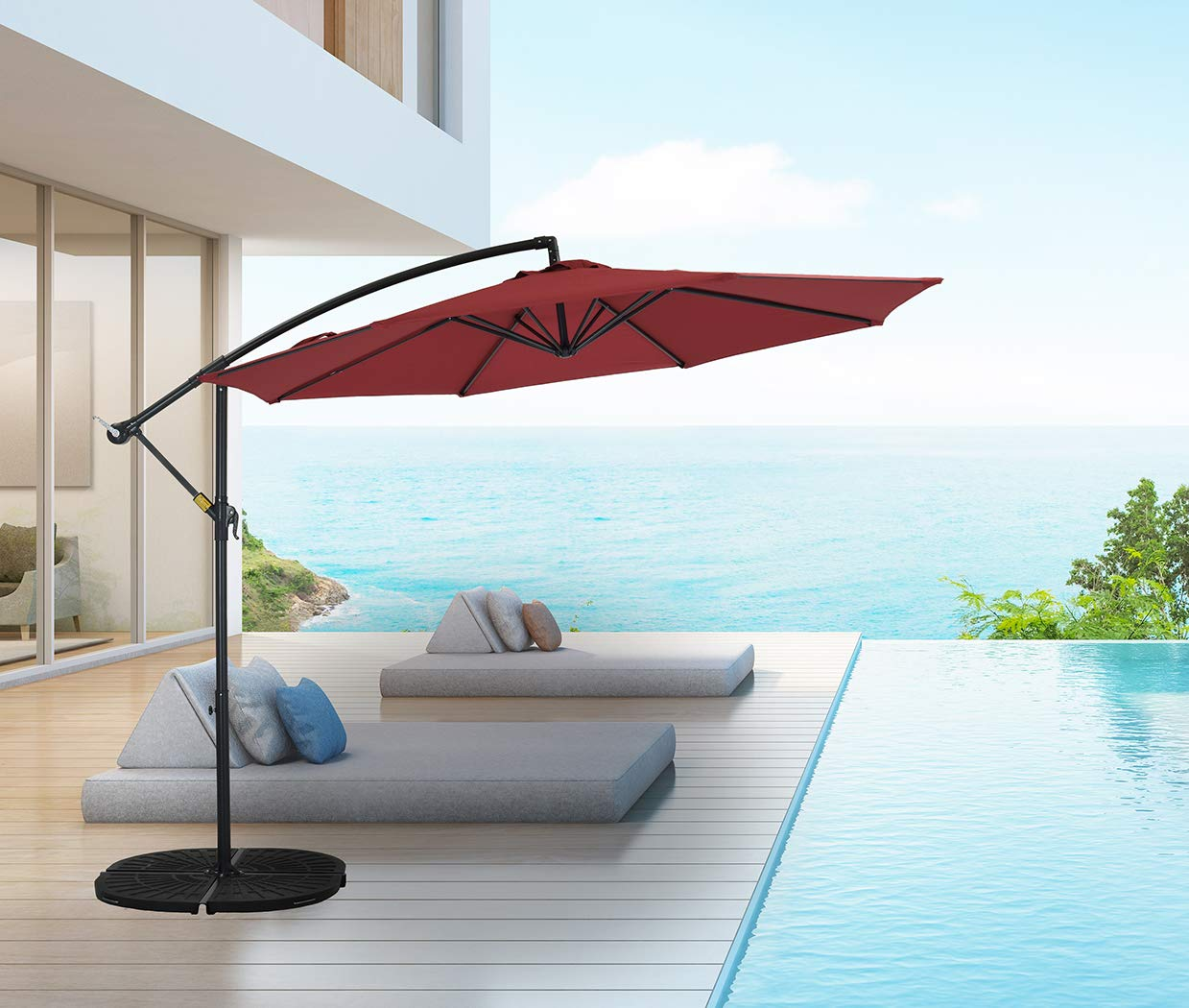 Patio Watcher 10ft Offset Hanging Patio Umbrella Adjustable Cantilever Umbrella Outdoor Market Umbrella with Crank Cross Base for Backyard, Garden, Lawn and Pool – Red