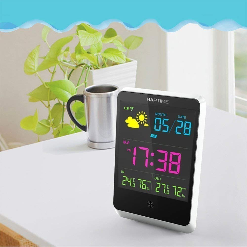 PowerLead Wireless Digital Alarm Clock with Large Night Lighting LCD Screen, Weather Station Table Clock Indoor/Outdoor with Temperature/Humidity/Forecast