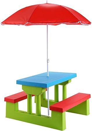 COSTWAY Ensemble de Jardin pour Enfants Table et Bancs avec Parasol Table d'Activité Exterieur