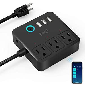 Gosund Smart Power Strip Work with Alexa Google Home,WiFi Outlets Surge Protector with 3 USB 3 Charging Port for Cruise Ship Travel Multi Plug Extender,10A