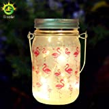 Solar-powered flamingo Mason Jar Lights (Mason Jar & Handle Included),10 Bulbs Warn White Jar Hanging Light,Garden Outdoor Solar Lanterns,Hanging Lantern,Decor Solar Light,Table Light,Patio Path Ligh