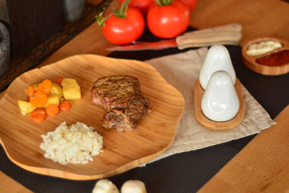 Procelain Salt and Pepper Shakers, White Set, With Bamboo Base Plate by Bambum (Image #2)