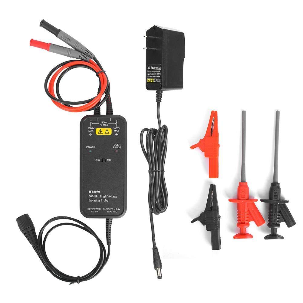 HT8050 Oscilloscope High Voltage Differential Probe 1//50 1//500 US Plug 100-240V for Laboratory Digital Oscilloscope