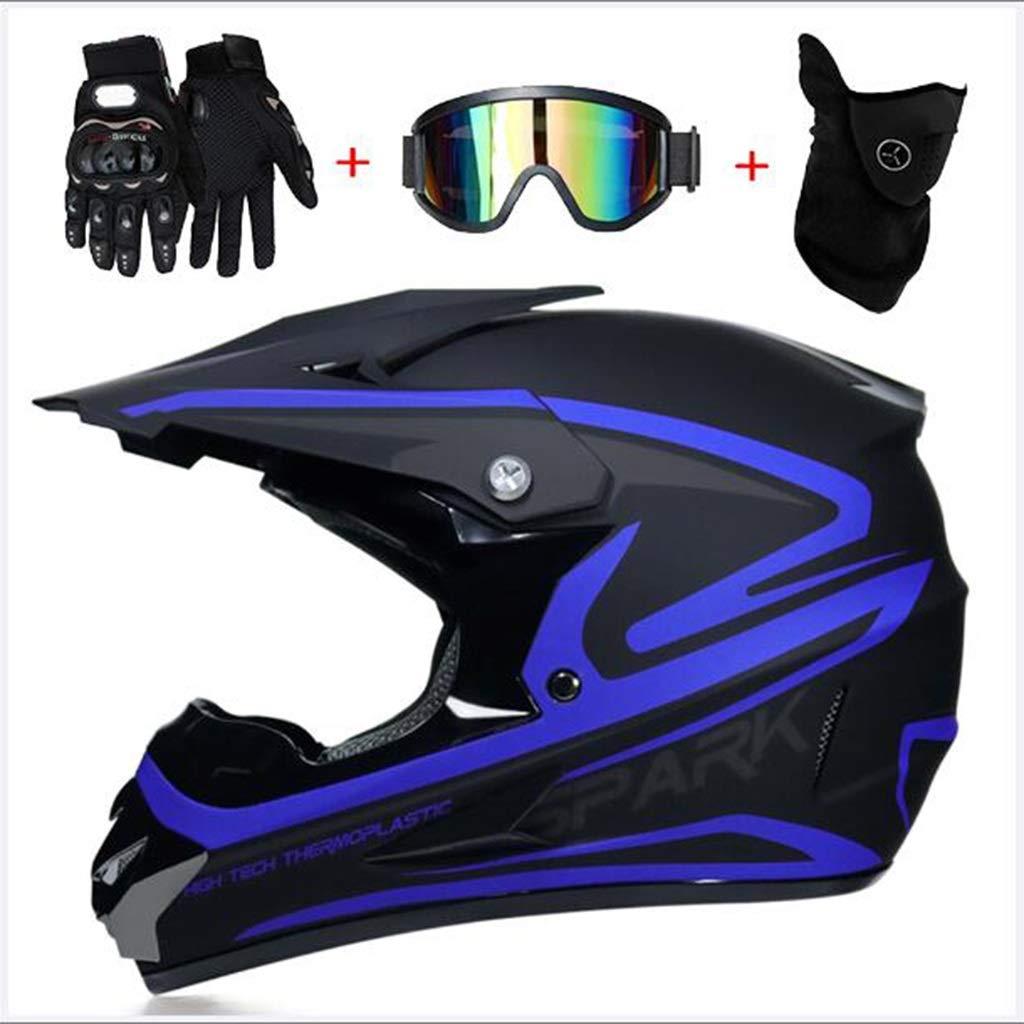 Dual Sport Off Road Motorcycle helmet Dirt E-Bike ATV D.O.T certified Blue