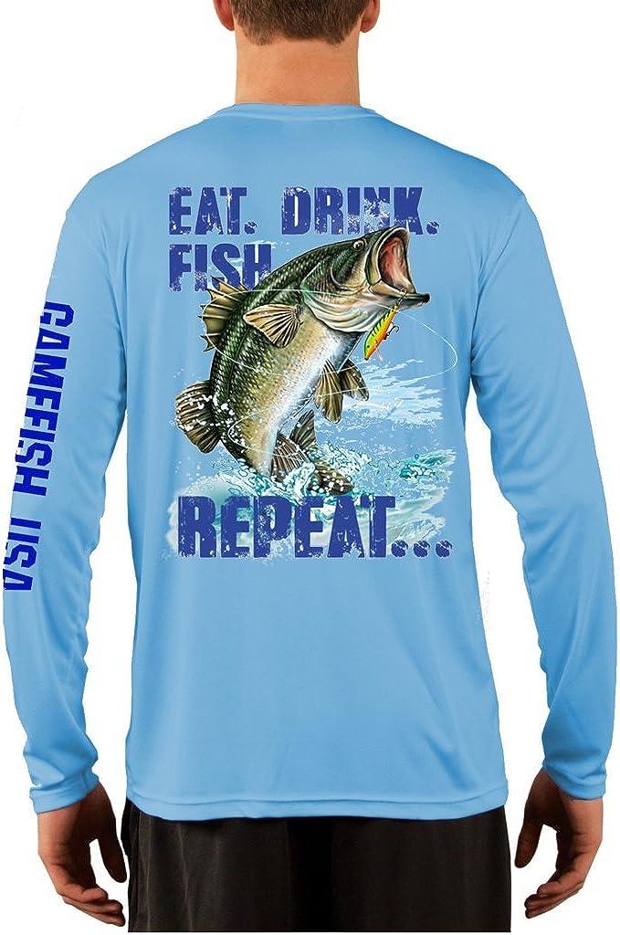 UPF 50 Long Sleeve Performance Fishing Shirt Eat Drink Fish Repeat Bass