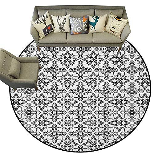 (Black and White,Bedroom Rugs Portuguese Azulejo Tiles Pattern with Monochrome Flowers European Design D48 Nursery Circle Rug for Infant and Children)