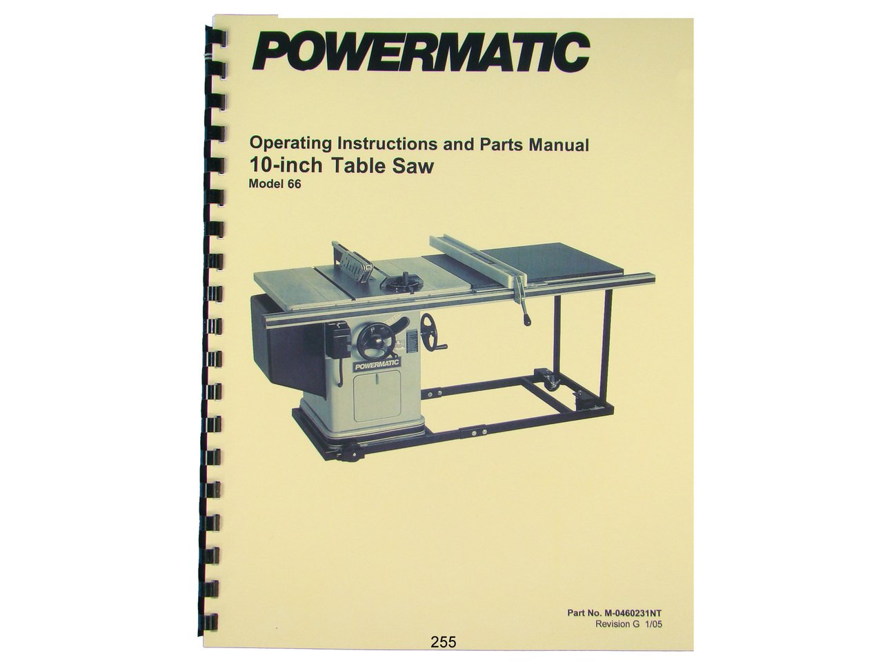 Powermatic 66 Wiring Diagram Oliver Model 10 Table Saw Instruction Parts List Manual Rh Amazon Com New Style 1999
